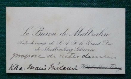 Antique Signed Calling Card Aide-de-Camp Baron Maltzahn Grand Duke Mecklenburg